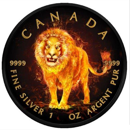 1 Oz Silver BURNING CANADIAN MAPLE Ruthenium 24K GOLD ONLY 500! 2015 RARE