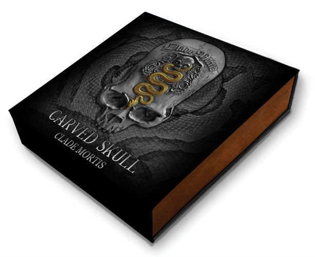 2018 1 Oz Silver Cameroon 1000 Francs CARVED SKULL CLADE MORTIS Antique Coin.