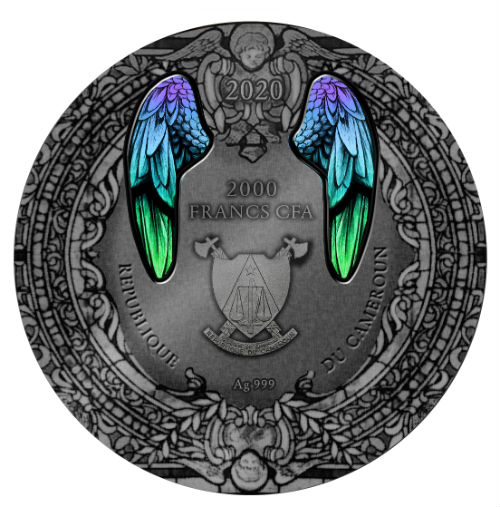 ARCHANGEL GABRIEL - ARCHANGELS SERIES - 2020 2 oz Pure Silver Coin Antique  Finish with Glass Insert - Mint of Poland - Cameroon - The Coin Shoppe
