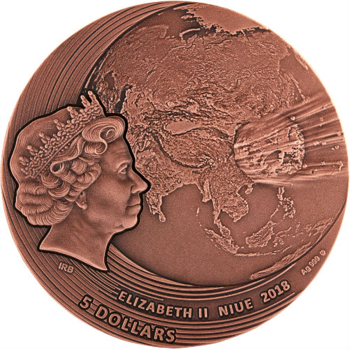 FUKANG METEORITE INSERT 2018 $5 2 OZ PURE SILVER COPPER PLATED COIN NIUE