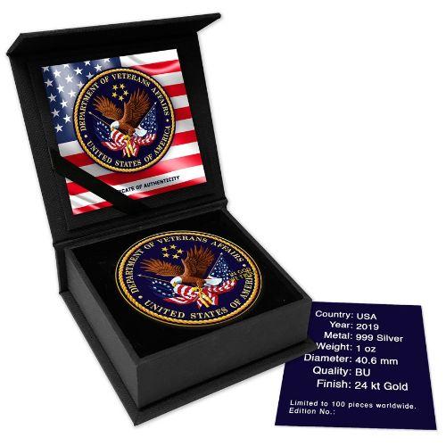 VETERANS AFFAIR- 2019 1 oz American Silver Eagle Color Coin in Capsule -  The Coin Shoppe