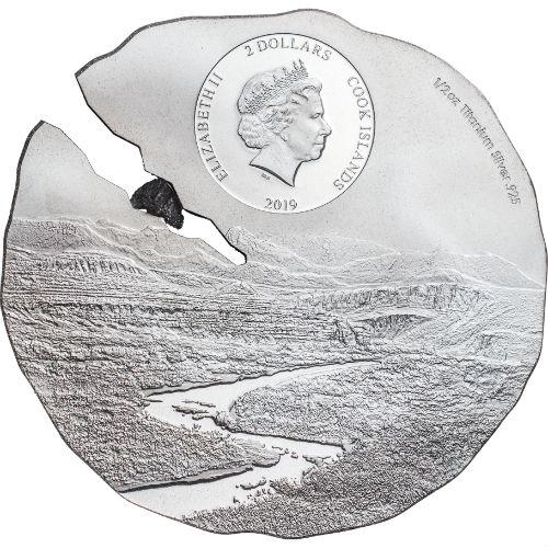 Cook Islands 2019 $2 1//2 oz .925 Titanium Silver Coin ESTACADO METEORITE