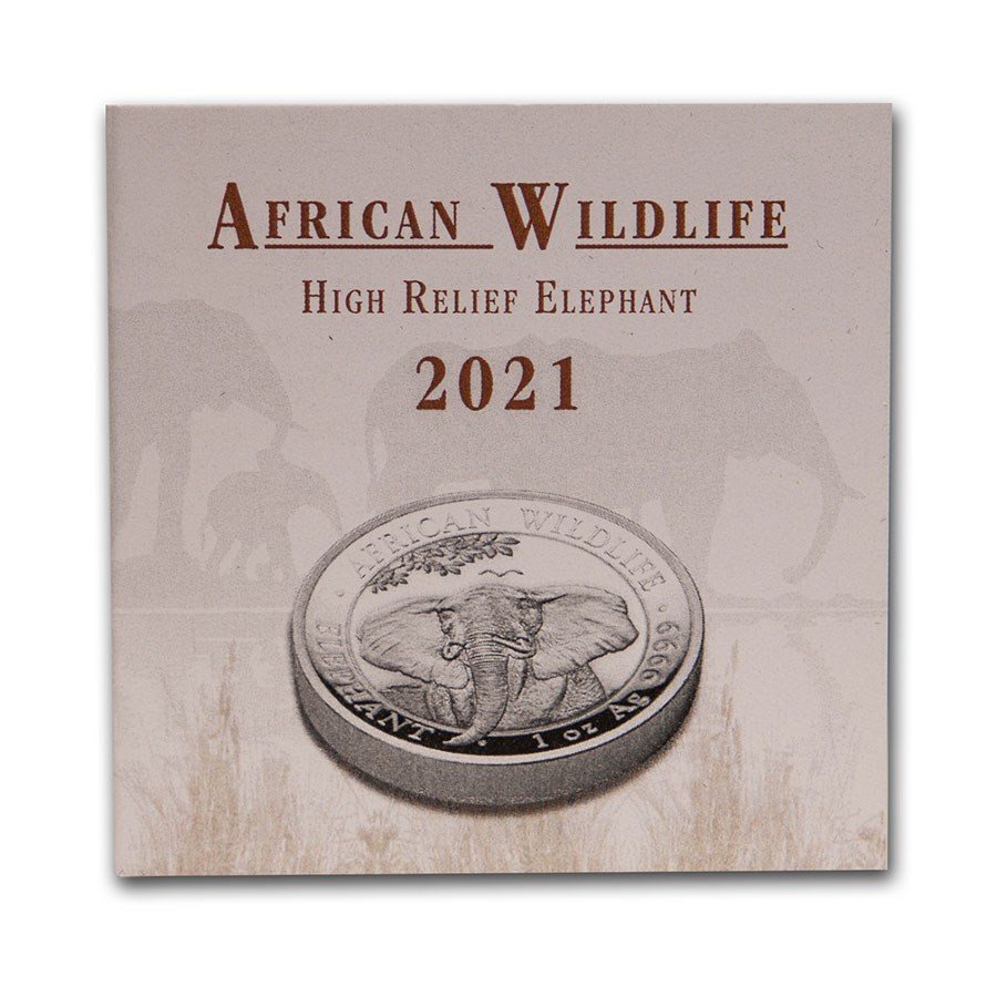2021 Somalia Elephant Ultra High Relief Proof Silver Coin African Wildlife